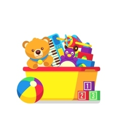 Kids toys in box clipart vector