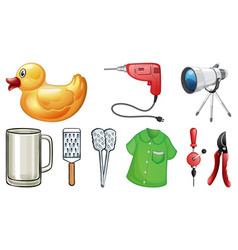 large set household items on white background vector image