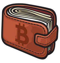 leather wallet with the money and bitcoin sign vector image vector image