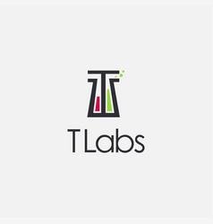 Letter t beaker laboratory logo icon vector