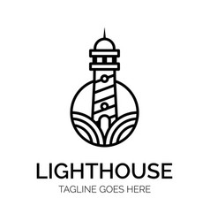 Lighthouse logo concept creative minimal design vector