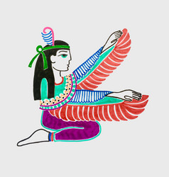 marker sketch drawing of egyptian goddess isis vector image