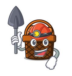miner bread basket mascot cartoon vector image