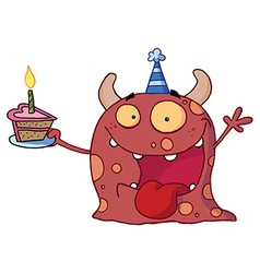 Monster Wearing A Party Hat And Holding A Cake vector image