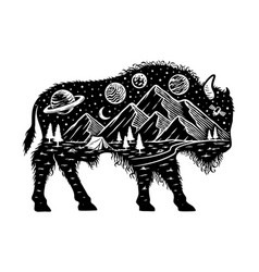 Nature and bison silhouette vector