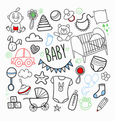 Newborn bahand drawn doodle with toys vector