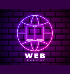 online education icon template neon globe and vector image