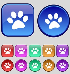 Paw icon sign A set of twelve vintage buttons for vector