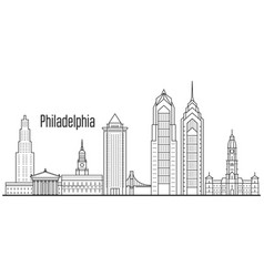 Philadelphia city skyline - downtown cityscape vector