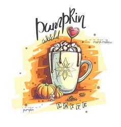 Pumpkin world a mug with vector