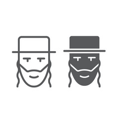 Rabbi line and glyph icon israel and person vector