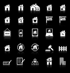 Real estate icons with reflect on black background vector