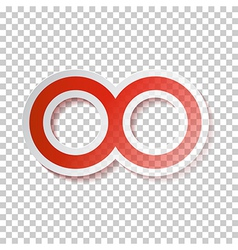 Red Paper Infinity Symbol on Transparent vector image