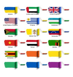 Roller brush with flag vector