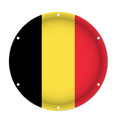 round metallic flag of belgium with screw holes vector image
