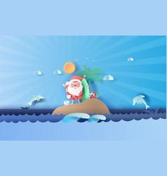 Santa claus smile wearing beach suit travel vector