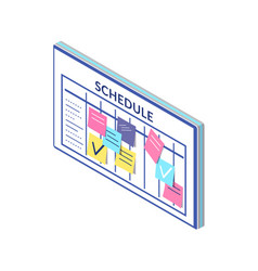 Schedule timetable company workers board notes vector