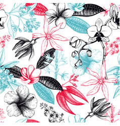 seamless pattern with exotic plants vector image