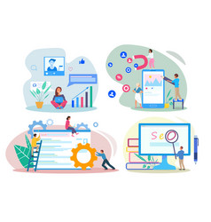 Seo sem smm smo concepts people using devices for vector