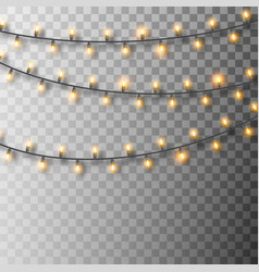 set glowing christmas lights christmas garland vector image
