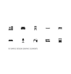 Set of 10 editable furnishings icons includes vector