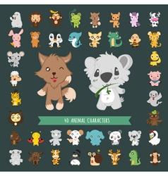 Set of 40 Animal costume characters eps10 vector image
