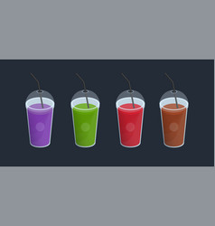 Set of different smoothies in plastic cup with lid vector