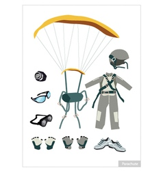Set of Parachute Equipment on White Background vector image