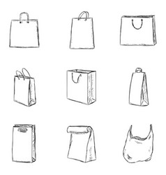 set sketch shopping bags icons vector image