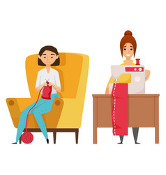 sewing and knitting hobby woman designer vector image