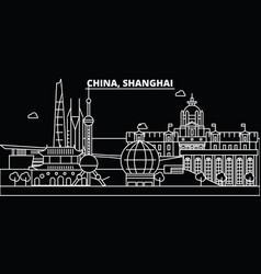 shanghai city silhouette skyline china - shanghai vector image