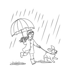 Sketh teen girl walking umbrella rain dog vector