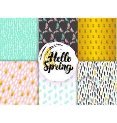 spring funky seamless patterns vector image