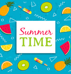 summer time card with tropical fruit ice cream vector image