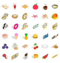 Tasty food icons set isometric style vector