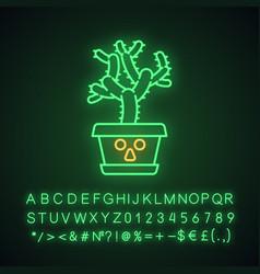 Teddy bear cholla cute kawaii neon light character vector