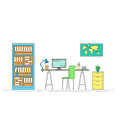thin line of interior equipment of a workstation vector image