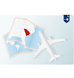 Travel to south carolina top view airplane with vector