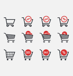 trolley icons sale and discount icon set with vector image