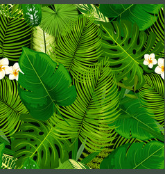 tropical exotic plants flowers seamless pattern vector image