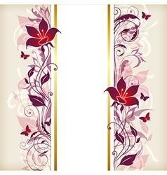 Vertical vintage floral banner vector image