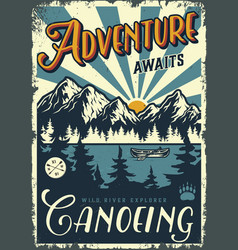 Vintage summer adventure colorful poster vector