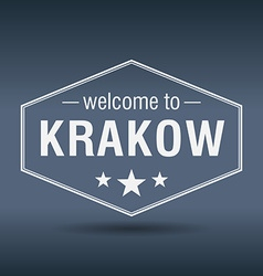 Welcome to Krakow hexagonal white vintage label vector
