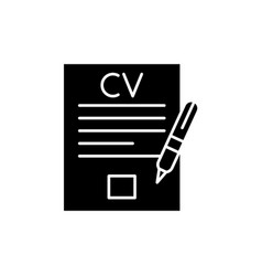 writing a resume black icon sign on vector image