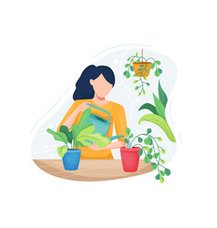 young woman taking care plants vector image