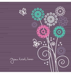 floral background with cartoon butterflies vector image