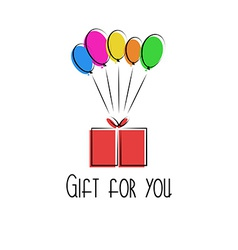 Gift in the box colorful balloon birthday vector image vector image
