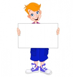 kid holding blank sign vector image vector image