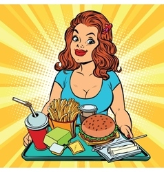 Lifestyle young woman and a fast food lunch in the vector