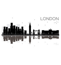 london city skyline black and white silhouette vector image